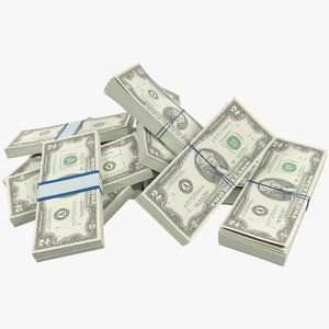 3D pile dollars bills banknotes