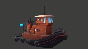 3D stylized diesel boat