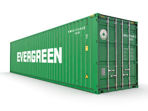 3D shipping container evergreen 40