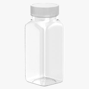plastic square bottle 4oz 3D model