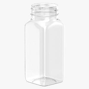3D model plastic square bottle 4oz