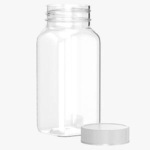 3D plastic square bottle 4oz model