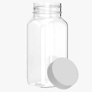 3D plastic square bottle 4oz