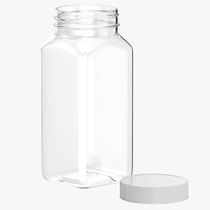 plastic square bottle 8oz 3D model