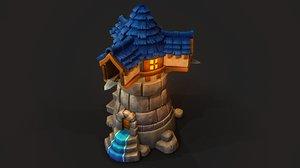 stylized watchtower 3D model