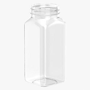 3D model plastic square bottle 8oz