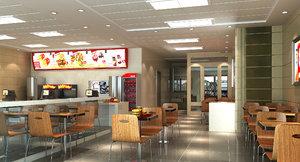 fast food restaurant interior 3D model