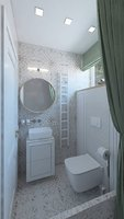 Nice shower with green curtains