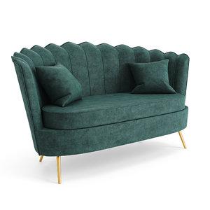 shell sofa 2 seater 3D model