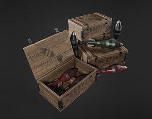 3D military mortar ammo box