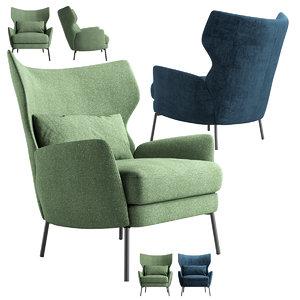 3D armchair alex navy model