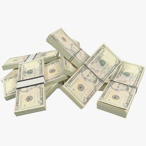 pile dollars bills banknotes 3D