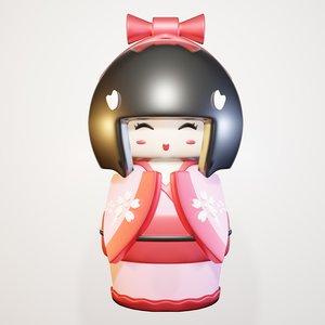 3D doll kokeshi model