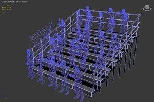 3D model spectator stand viewing platform