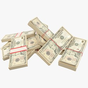 3D model pile dollars bills banknotes