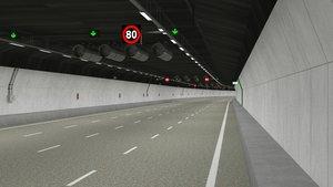 3D tileable road tunnel model