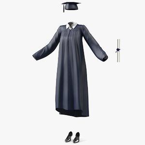 graduation gown grad 3D