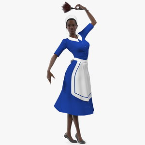 3D model dark skinned black maid