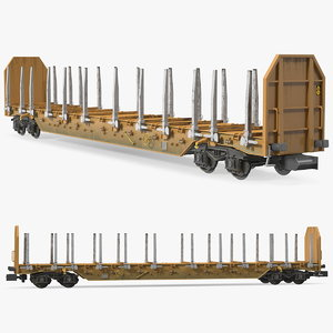 axled stake wagon dirty 3D model