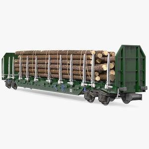 3D stake wagon loaded logs