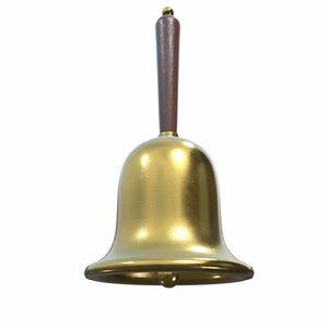 gold hand bell - 3D