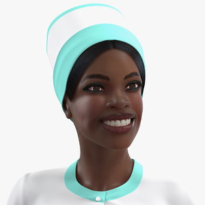 3D dark skinned black nurse
