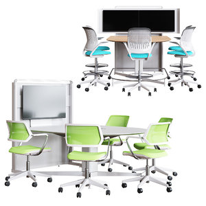 3D steelcase scape d-form totem