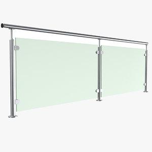 real glass handrail 3D