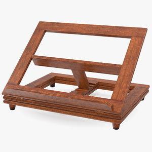 3D folding wooden book stand