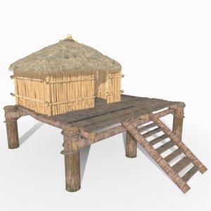 3D model tropical beach hut bamboo