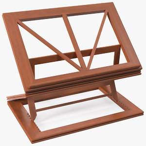 3D collapsible wooden book stand model