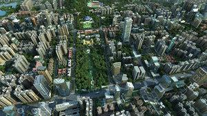 cityscape city office buildings model