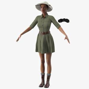 light skin black woman 3D model