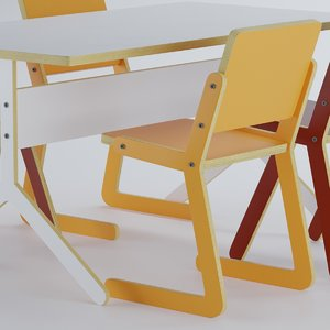 child chair table 3D