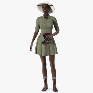 dark skin black woman 3D model