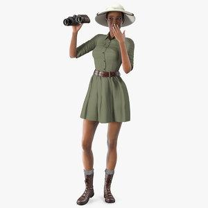 light skin black woman 3D