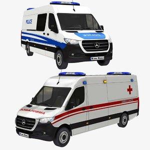 3D police ambulance