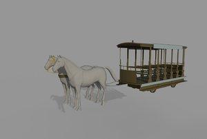 3D horsecar horse