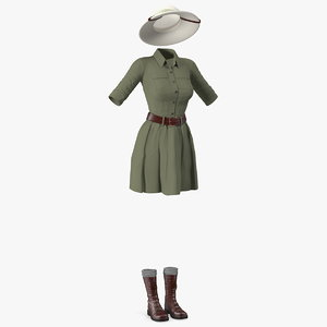 woman explorer costume 3D model