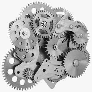 cog gears mechanism silver 3D model
