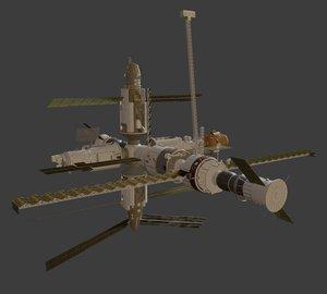 blender mir space station 3D model