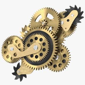 3D cog gears bronze