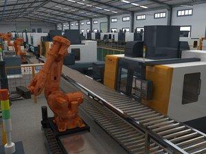 3D factory interior cnc equipment