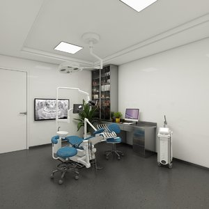 3D dentist room operating equipment model