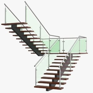 3D real u stair model