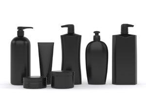 3D model black plastic bottles