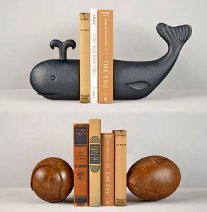 bookends whale balls vintage 3D model