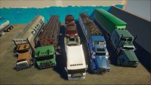 3D 12 vehicles trucks