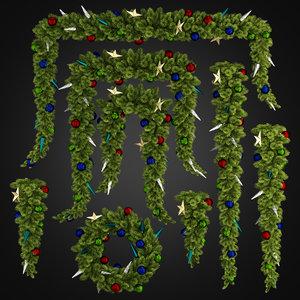 christmas garlands 02 3D model