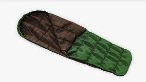 3D model pbr sleeping bag green